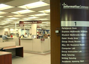 Information Commons Reference Desk and list of 1st floor services in the Main Library