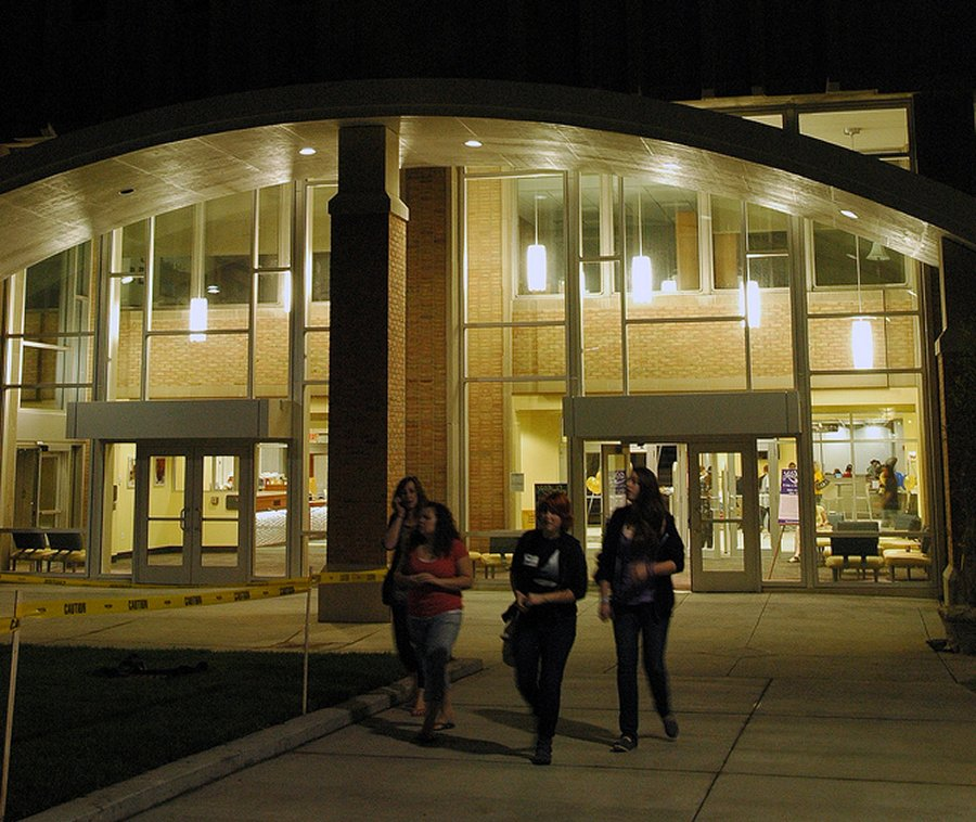 Library building at night