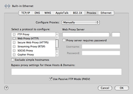 Unproxy screenshot for Mac Proxy Settings