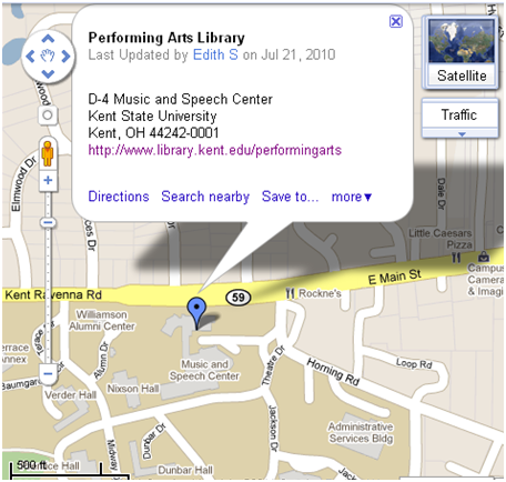 Performing Arts Library on Google Maps