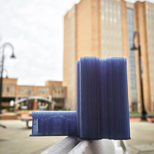 A 3D print of the Kent State University Library, modeled in SketchUp and printed on the library's Ultimaker 2