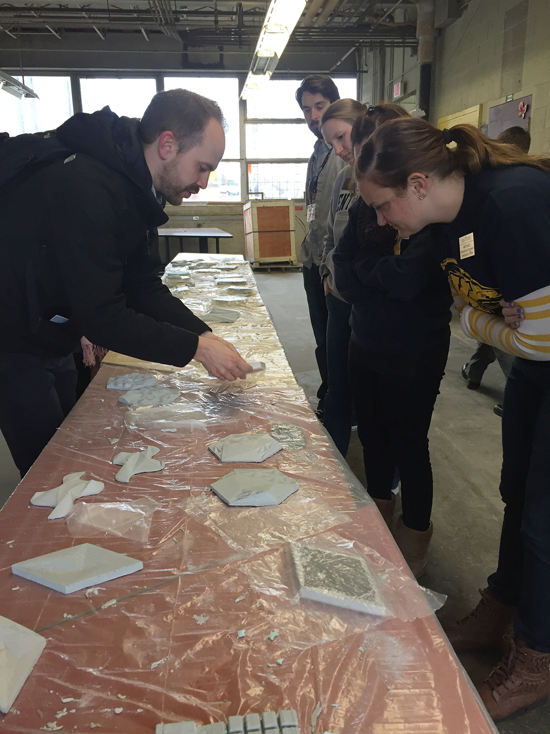 A demonstration of the Casting Concrete Panels project in Spark's project studio space
