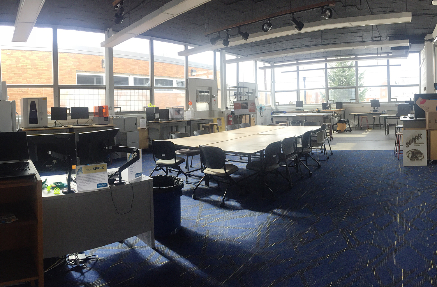 View of Spark's makerspace from the entrance to Room 191