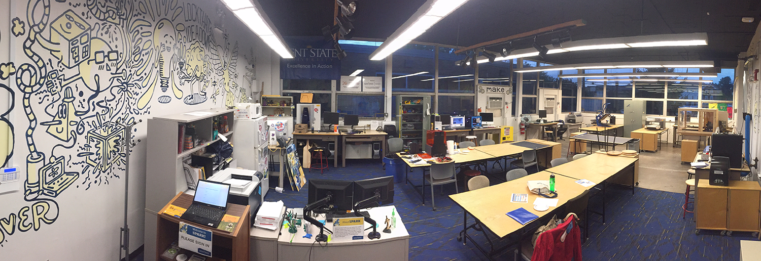 A panoramic view of Spark's makerspace