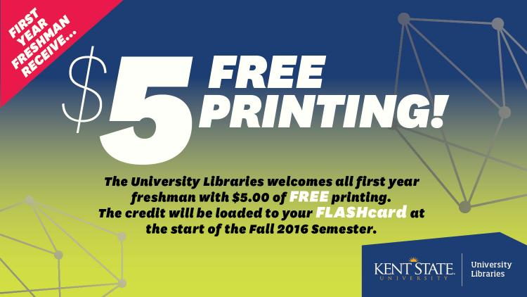 Show more about The University Libraries welcomes all first year freshman with $5.00 of FREE printing.